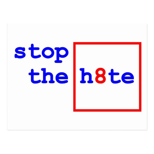 Anti-Proposition 8: stop the h8te Postcards