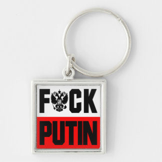 Anti Putin Silver-Colored Square Key Ring
