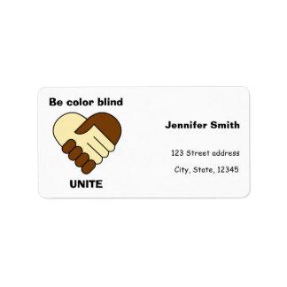 Anti racism theme address label