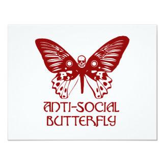 Anti-Social Butterfly 11 Cm X 14 Cm Invitation Card
