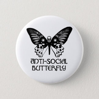 Anti-Social Butterfly 6 Cm Round Badge