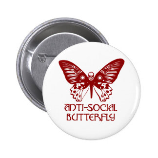 Anti-Social Butterfly Pinback Buttons