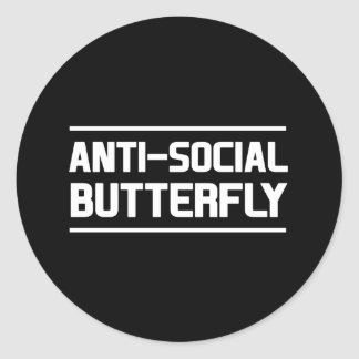Anti-social Butterfly Round Sticker