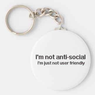 Anti-Social Techie Geek Basic Round Button Key Ring