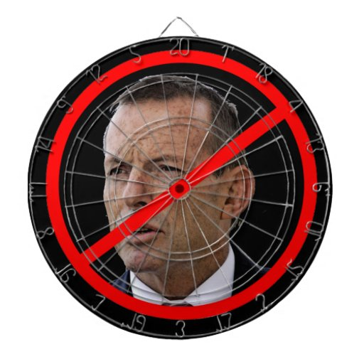 Anti Tony Abbot. Australian Political leader. Dartboard With Darts