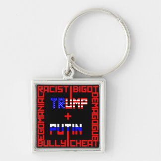 Anti Trump+Putin Silver-Colored Square Key Ring