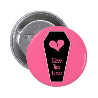 Anti Valentine s day cute broken heart on coffin Pin
