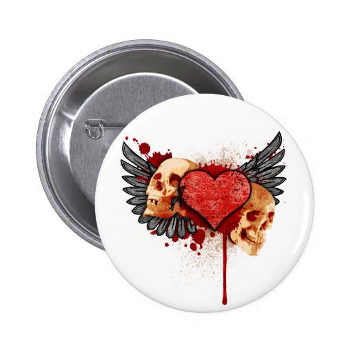 Anti-Valentine Skulls with Wings Button