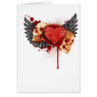 Anti-Valentine Skulls with Wings Card
