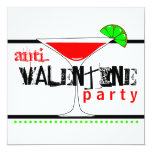 Anti-Valentines Day Party Cocktail Martini 13 Cm X 13 Cm Square Invitation Card