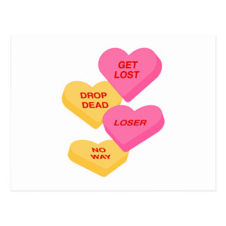 anti vday candy hearts postcard