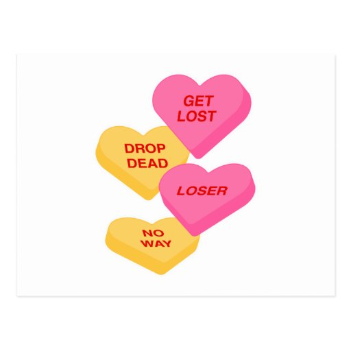 anti vday candy hearts postcards