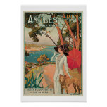 Antibes Cote D Azur Vintage Travel Poster