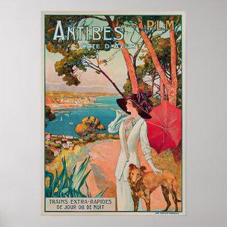 Antibes Cote d'Azur Vintage Travel Poster