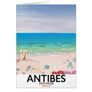 Antibes France Beach poster Card