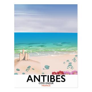 Antibes France Beach poster Postcard