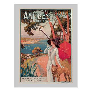 Antibes, France Vintage Travel Advertisement Postcard