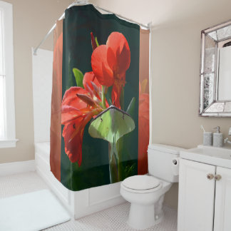 """Anticipation of the Night"" - Luna Moth Painting Shower Curtain"