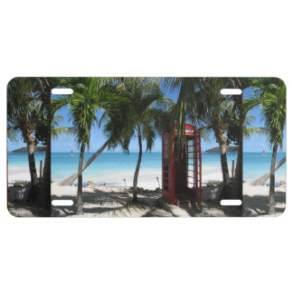 Antigua Red Phone Box custom license plate covers License Plate