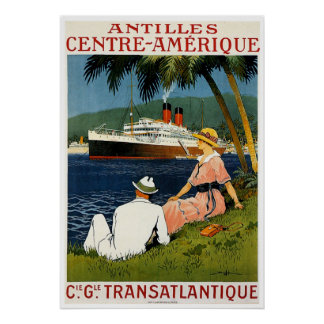 Antilles Central America Vintage Ship Travel Poster