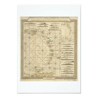Antilles Charibbee Caribbean Virgin Isles Map 1784 13 Cm X 18 Cm Invitation Card