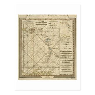 Antilles Charibbee Caribbean Virgin Isles Map 1784 Postcard