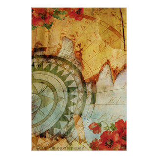 Antiquarian Steampunk Poster with Compass & Poppy