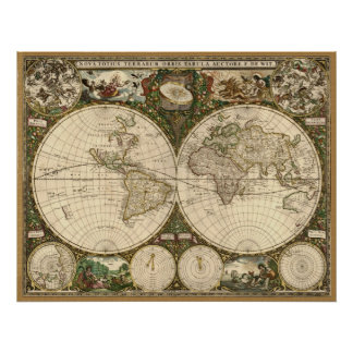 Antique 1660 World Map by Frederick de Wit Posters