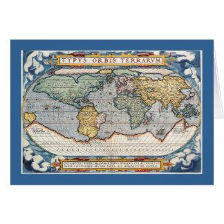 Antique 16th Century World Map Card