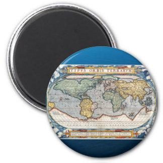 Antique 16th Century World Map 6 Cm Round Magnet