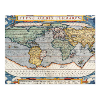 Antique 16th Century World Map Postcard
