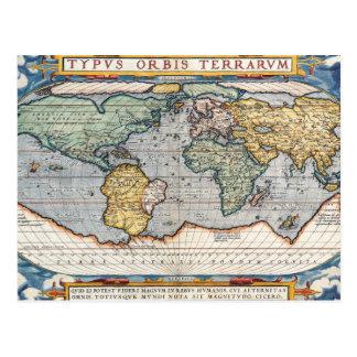 Antique 16th Century World Map Postcard