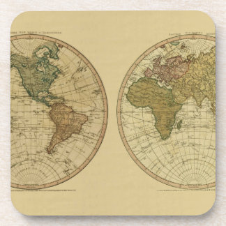 Antique 1786 World Map by William Faden Coasters