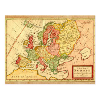 Antique 17th Century Herman Moll Map of Europe Postcard