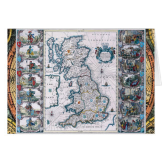 Antique 17th Century Map Card