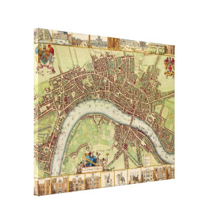 Antique 17th Century Map of London W. Hollar Gallery Wrapped Canvas