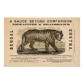 Antique 1869 spicy sauce ad poster
