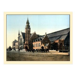 Antique 1890 color photo Bruges railroad station Postcard