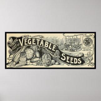 Antique 1894 Vegetable Seeds Sign