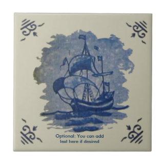 Antique 18th Century Delft Ship Tile Reproduction