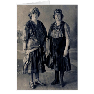 Antique 1920s Women in Gypsy Costumes Greeting Card