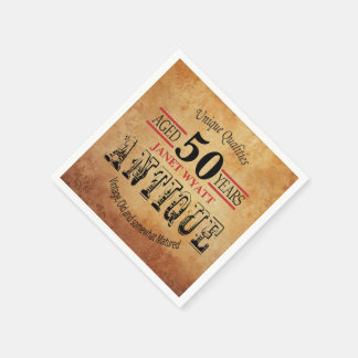 Antique 50th Birthday Design Disposable Napkin