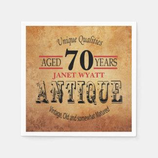 Antique 70th Birthday Design Disposable Serviette