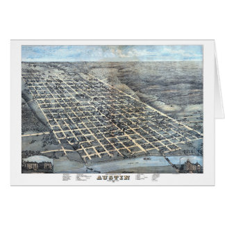 Antique Aerial City Map of Austin, Texas, 1873 Card