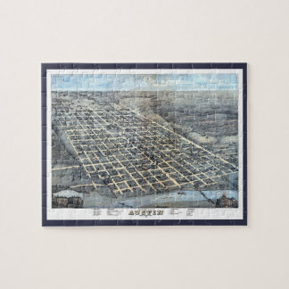 Antique Aerial City Map of Austin, Texas, 1873 Jigsaw Puzzle