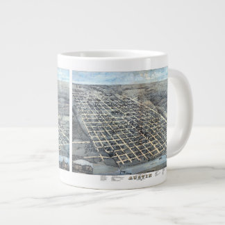 Antique Aerial City Map of Austin, Texas, 1873 Large Coffee Mug
