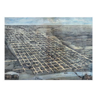 Antique Aerial City Map of Austin, Texas, 1873 Poster