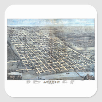 Antique Aerial City Map of Austin, Texas, 1873 Square Sticker