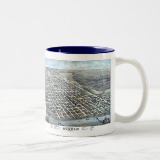 Antique Aerial City Map of Austin, Texas, 1873 Two-Tone Coffee Mug