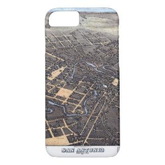 Antique Aerial City Map of San Antonio, Texas 1873 iPhone 8/7 Case